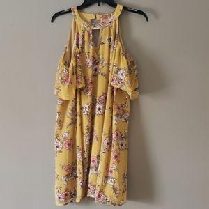 Gold floral dress